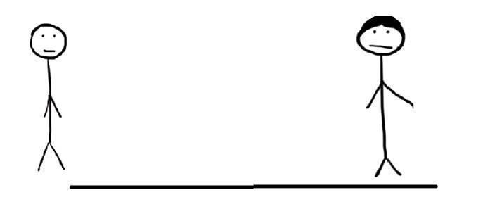 Tekening van twee mensen die tegenover elkaar staan. Uitstelgedrag