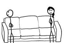 Tekening van een man en een vrouw die op de bank zitten en boos zijn op elkaar.